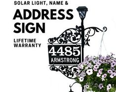 Driveway Address Sign - Double Sided Reflective Address 911 with pole & double scroll and 2 plant hooks with Solar Light Address Sign Address Numbers, Address Plaque, Address Signs, Plant Hooks, Mailbox Makeover, Emergency Responder, Front Porch Signs, Solar Lights, Porch Decorating
