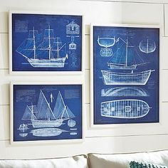 Maritime Blueprint  - these could be cute in powder room?