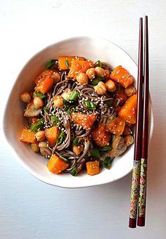 Macrobiotic Goddess Bowl With Mushrooms, Butternut Squash, Soba & Sesame
