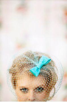 aqua blue birdcage veil / photographed by Silvana Di Franco