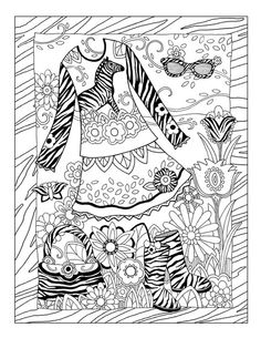 "iColor ""Fashion Fantasy"" ~ Zebras and Wild Stripes Adult Coloring Book Pages, Cute Coloring Pages, Printable Coloring Pages, Free Coloring, Coloring Sheets, Coloring Books, Copics, Colorful Fashion, Color Inspiration"