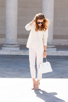 Soft Feminine Style - H&M Ivory Waffle Sweater and H&M Blush Pink Chino Pants and Kate Spade White Cedar Street Maise and Nude Strappy Heels and Karen Walker Super Duper Strength Sunglasses and Marc by Marc Jacobs Black Leather Strap Watch and Dogeared California Necklace and Bauble Bar Y Chain Spike Necklace