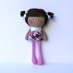 """*** This listing is made to order. Please allow up to 5 working days for doll to be made before shipping ***My Teeny-Tiny Dolls® are 11"""" Handmade Fashion Dolls. Made from cotton and wool felt fabrics, filled with polyfil for softness.Due to the handmade nature of the doll and small parts, recommended for children 3 . Children should be supervised during play.© Cook You Some Noodles 2014"""