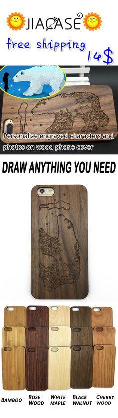 #Pretty girl&polar #bear #engraved covers custom #photos on #wood #phone #cases