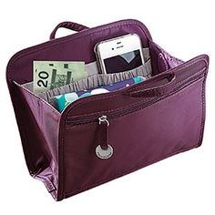 """RFID PURSE ORGANIZER - EGGPLANT Handy RFID purse organizer lifts out to transfer from one purse or tote to another in a snap. Two exterior pockets are RFID-protected to prevent unauthorized access to personal information. Removable key ring and convenient light. Polyester. 8""""L x 5-3/4""""H x 2-1/2""""W http://lindafbrown.shopregal.ca/PWS/Products/ProductDetails.aspx?prodid=16262&cid=13010&pid=130"""