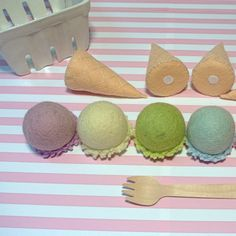 Felt Ball Ice cream Set C - Includes 4 cones & 6 scoops of ice cream. Felt toys, Felt Food, Pretend food, Ice Cream set, Felt Ice cream set Felt Ball Ice cream Set C Includes 4 cones & 6 scoops of ice Sewing For Kids, Diy For Kids, Crafts For Kids, Pretend Food, Pretend Play, Kids Toy Kitchen, Ice Cream Set, Felt Fish, Papier Diy