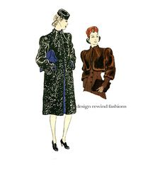 1930s COAT JACKET BOLERO Swagger Coat Pattern High Funnel Neck For Fur or Fabric Vogue 8449 Bust 36 Rare Women's Vintage Sewing Patterns