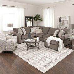 Having small living room can be one of all your problem about decoration home. To solve that, you will create the illusion of a larger space and painting your small living room with bright colors c… Cozy Living Rooms, Living Room Grey, Living Room Interior, Home And Living, Living Room With Sectional, Sectional Sofa, Apartment Living, Fabric Sectional, Living Room Ideas With Brown Carpet