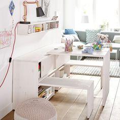 Meuble de rangement avec bureaux et bancs escamotables Noah blanc de chaux ALFRED ET COMPAGNIE