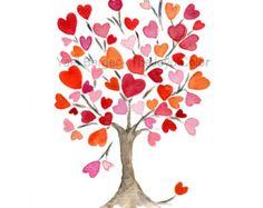 Imprimir Arte de árbol de corazón de color rosa por TheJoyofColor