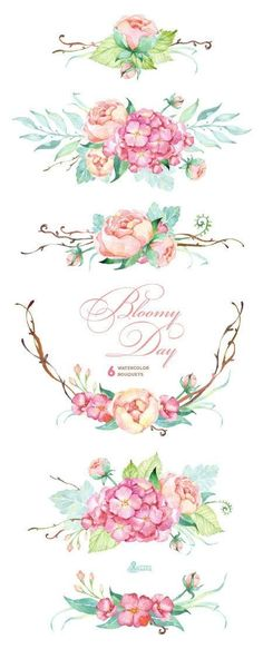 Bloomy Day: 6 Watercolor Bouquets hydrangea peonies wedding invitation floral frame greeting card diy clip art flowers mint and pink Watercolor Clipart, Watercolor Flowers, Watercolor Paintings, Tattoo Watercolor, Drawing Flowers, Art Flowers, Watercolor Wedding, Wedding Drawing, Pink Flowers