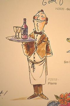 PIERRE-FRENCH-Wine-Waiter & words sold separately. You can purchase these  in  my ebay store. Click on picture & it will take you into this listing in my Ebay Store. .  My ebay Store is:  Pat's Rubber Stamps & Scrapbooks or call me 423-357-4334 with order. We take PayPal. You get free shipping with $30.00 or more