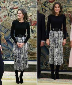 Queen Letizia of Spain Jan 2019 Office Fashion, Fashion 2020, Mode City, Look Office, Spain Fashion, Stylish Work Outfits, Estilo Real, Elegant Dresses For Women, Monochrome Fashion