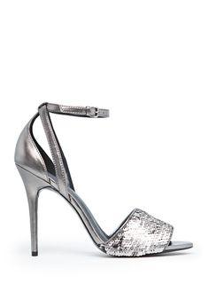 Sequined metallic sandals