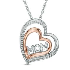Zales Diamond Accent Butterfly Tilted Heart Pendant in Sterling Silver and 10K Rose Gold