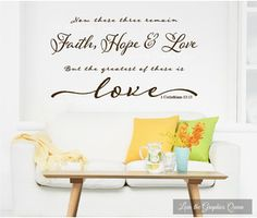 Wall Decal Religious Faith Hope Love The Greatest of These is Love - Wall Friendly Decor - 1 Corinthians 13 Bible Verse Wall Sticker Letters Dark Chocolate Brown