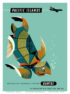 Pacific Islands - Qantas Airways - Green Sea Turtle Poster von Harry Rogers bei AllPosters.de