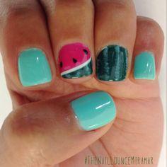 Watermelon gel nail art