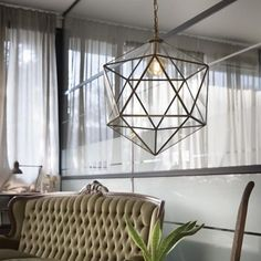 """💡 This unique """"Deca"""" design features a stunning antique brass finish, an adjustable steel wire and a triangle glass doored diffuser. The translucent glass sheets allow the light to gleam through with elegance. Vintage Industrial Lighting, Industrial Light Fixtures, Brass Pendant Light, Dim Lighting, Interior Lighting, Lighting Design, Lighting Ideas, Led Stripes, Traditional Lighting"""