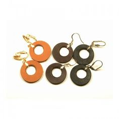 Leather earrings, excentric small