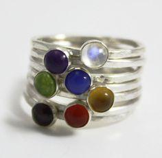 Chakra stacking rings, silver stacking ring, yoga jewelry, chakra jewelry, spiritual jewelry