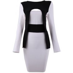 Posh Girl Gray & Black Long Sleeve Bandage Dress