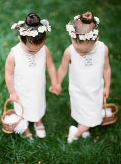 Flower girls wearing elegant ivory flower crowns: http://www.stylemepretty.com/2016/08/26/classic-elegant-duke-mansion-wedding/ Photography: Almond Leaf Studios - http://almondleafstudios.com/