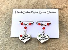 Christmas Wine Glass Charms - Stocking Fillers - Teachers Gifts - Table Decorations - Merry Christmas