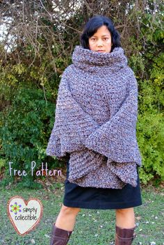 Simply Collectible's Free Cowl Hooded Poncho crochet pattern -- Makes for girls, teens, women, and plus sizes