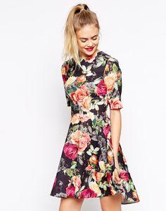 ASOS Skater Dress with Dipped Hem in Floral Print