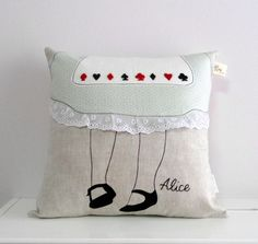 Alice in wonderland decorative linen/lace/cotton pillow/cushion cover,embroidered, Fairy tale inspired, Vintage inspired, Made to order by nenimav on Etsy https://www.etsy.com/listing/190110284/alice-in-wonderland-decorative