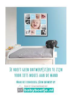 #wanddecoratie #babykamer #kinderkamer #fotocollage #jongen  Hoe maak je zelf zo'n collage?  1. Kies de collage naar keuze 2. upload je eigen foto's 3. Pas kleuren en teksten aan naar wens 4. .......je bent al klaar :-)
