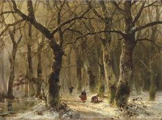 Woodgatherers on a forest path in winter, 1849, Andreas Schelfhout. Dutch (1787 - 1870).  Tumblr