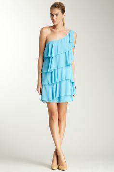 Single Dress One Shoulder Chiffon Tiered Dress