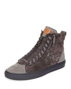Bally Hekem Mens Suede Patchwork High-Top Sneaker, Dark Gray
