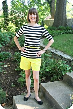 Inspired by an outfit I saw here on Pinterest, I created this working mom weekend chic look. I love black & white with yellow. http://www.franticbutfabulous.com/2012/08/15/working-mom-weekend-chic-outfit-black-white-bright/
