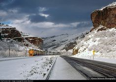 Rio Grande Zephyr, Train #18 is winding its way through the Red Narrows of Spanish Fork Canyon.