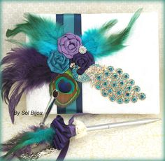 Wedding Guest Book and Pen Set in Peacock, Purple, Teal and Ivory with Crystal…