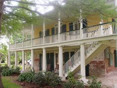 French Colonial, love the staircase parallel to the house. |  Southern Folk Artist & Antiques Dealer/Collector: Crawfish Boil at Mary plantation