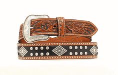 Men's Belt | Nocona Black & Brown Leather with Silver Concho Men's Belts, Leather Belts, Brown Leather, Black And Brown, Casual, Silver, Accessories, Fashion, Moda