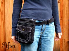 Love this idea ... fanny packs are out, I know, but this looks kinda stylish and functional.  Something I would use on vacations or days at the zoo or something with the kids - especially when I don't want to carry a bag around all day.