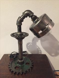 Funky Industrial Gear Lamp with a Custom Gear Shade