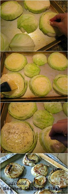 Oven-roasted cabbage steaks. Legit obsessed with roasted cabbage right now. Do it.
