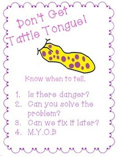 First week of school activity: Bad Case of Tattle Tongue.