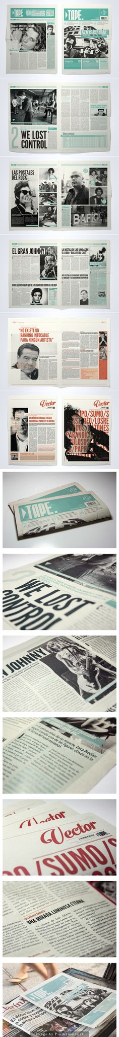 TAPE Newspaper by Juan Ignacio Roldán Nieva #1colourpages #coverheaders #greyscalewithcolour #southamericandesign