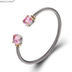 2017 Winter Romantic Fashion Jewelry Pink Kunzite 925 Sterling Silver Bangle for women Beautiful Birthday Gift B0057