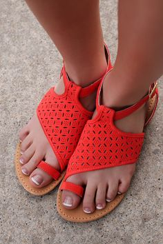 Crimson Floral Cut-Out Sandals ATHENA-804X | UOIOnline.com: Women's Clothing Boutique