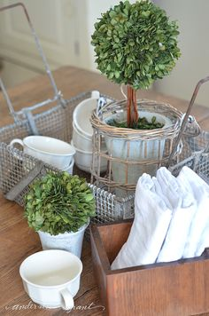 Unique basket repurposed as tray on dining room table
