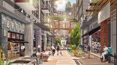 Eckington Yards is a new condo development by JBG Smith and LCOR in Washington, DC. Explore prices, floor plans, photos and details. Arcade Architecture, Commercial Architecture, Landscape Architecture, Plaza Design, Mall Design, Commercial Complex, Commercial Street, Shop Facade, Mall Facade