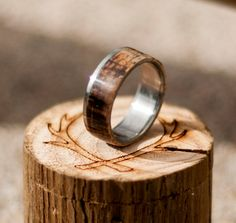 Mens Wedding Band Whiskey Barrel Ring Staghead by StagHeadDesigns